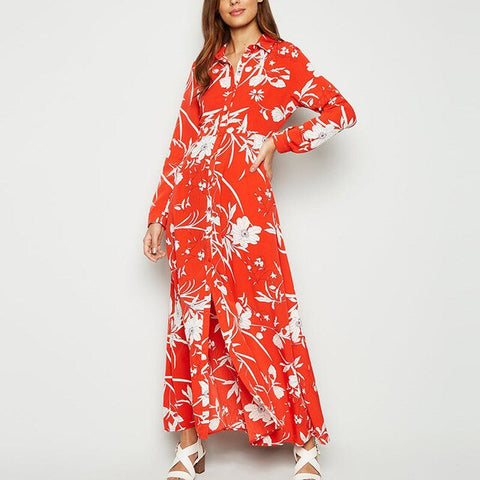 Down Collar Floral Print Long Dress