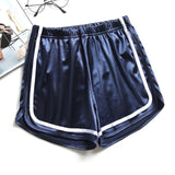 High Waisted Shiny Shorts with contrasting ribbed trims