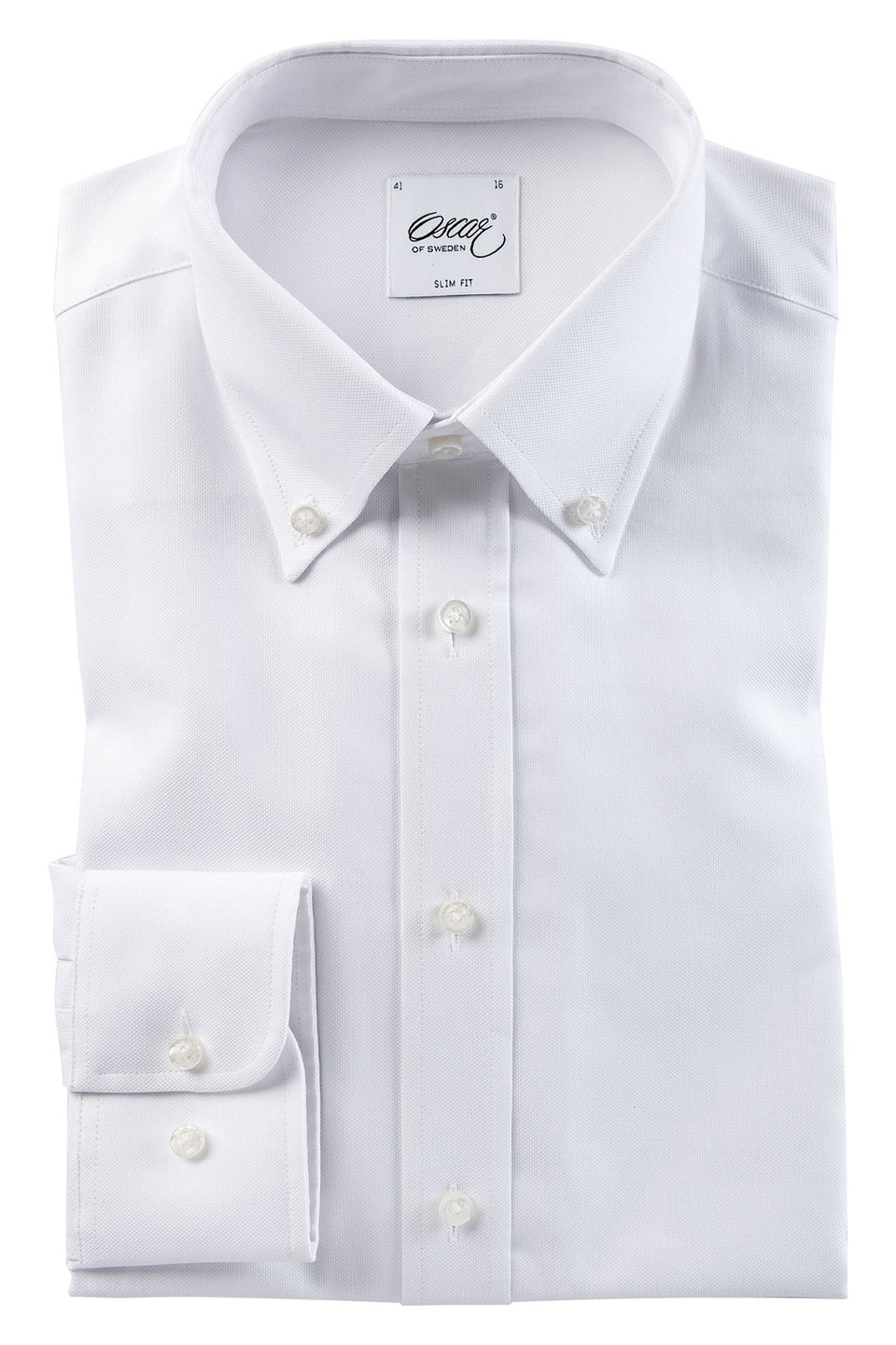 Washed white button-down slim fit shirt