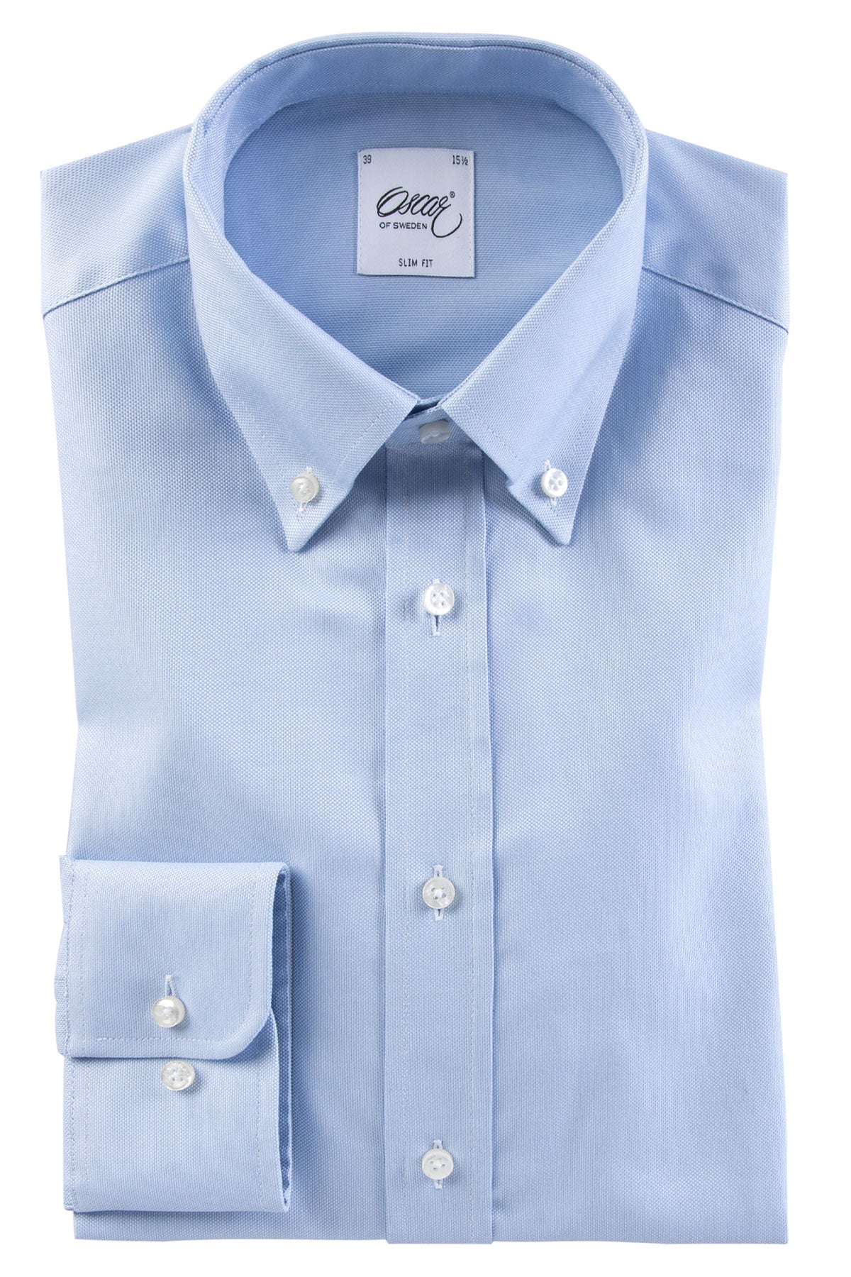 Washed light blue button-down slim fit shirt