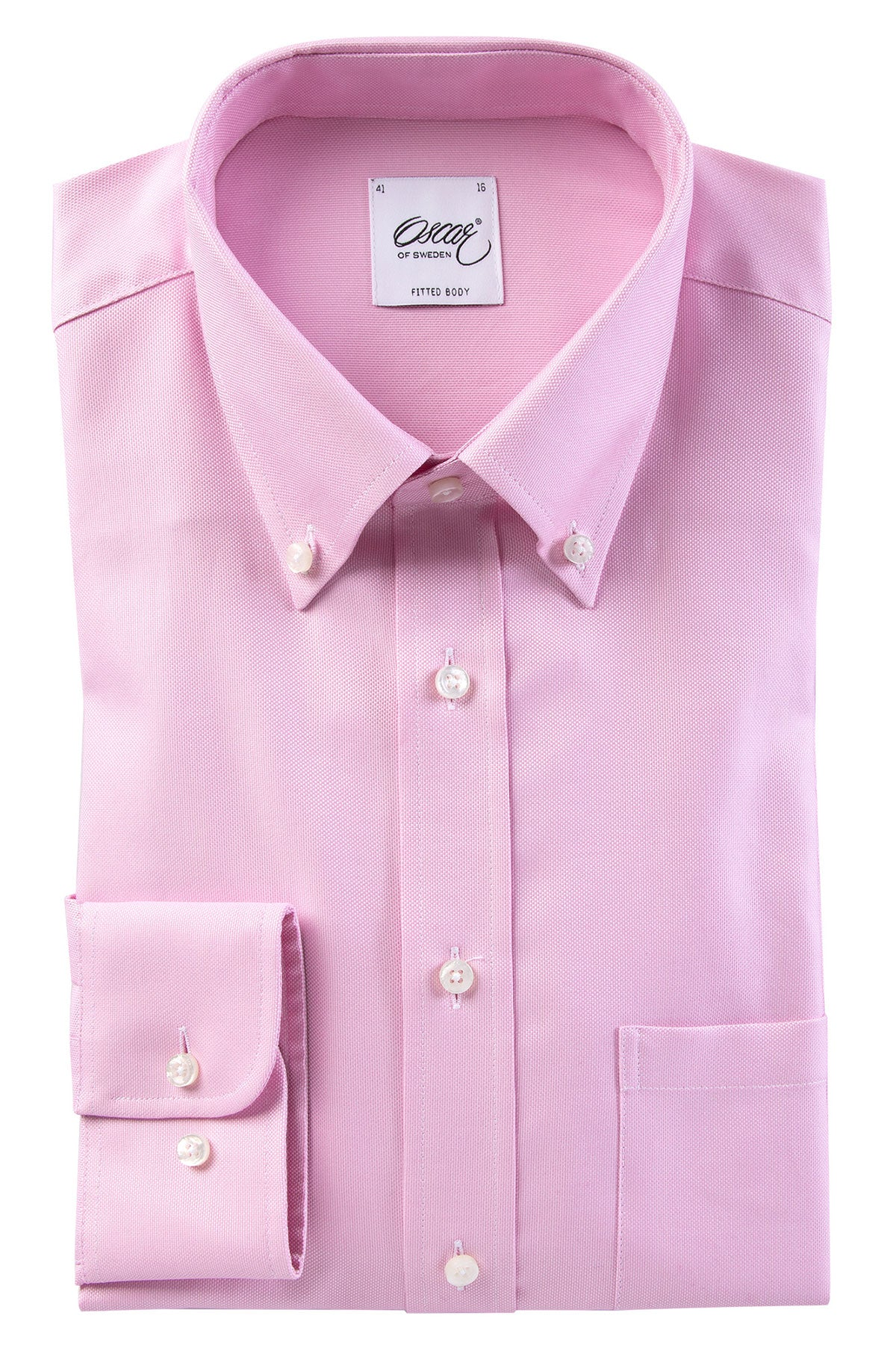 Washed pink button-down slim fit shirt