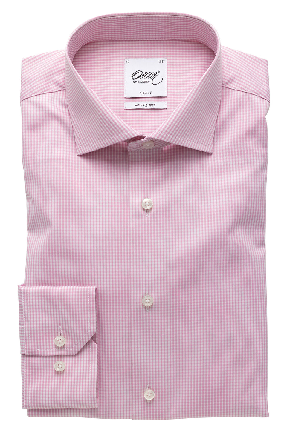 Pink checked slim fit shirt