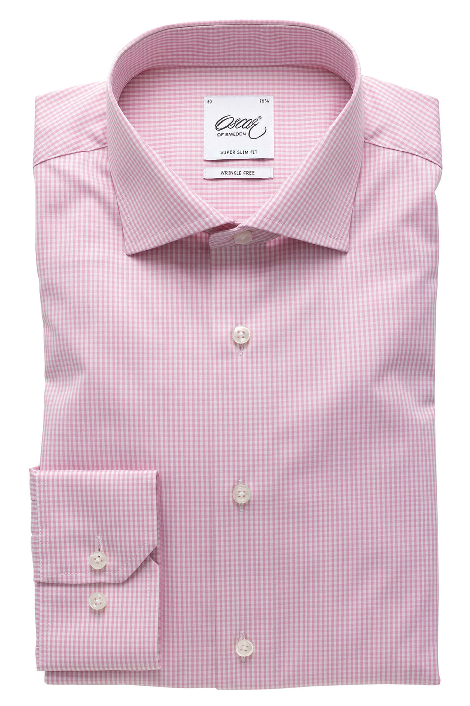 Pink checked super slim fit shirt