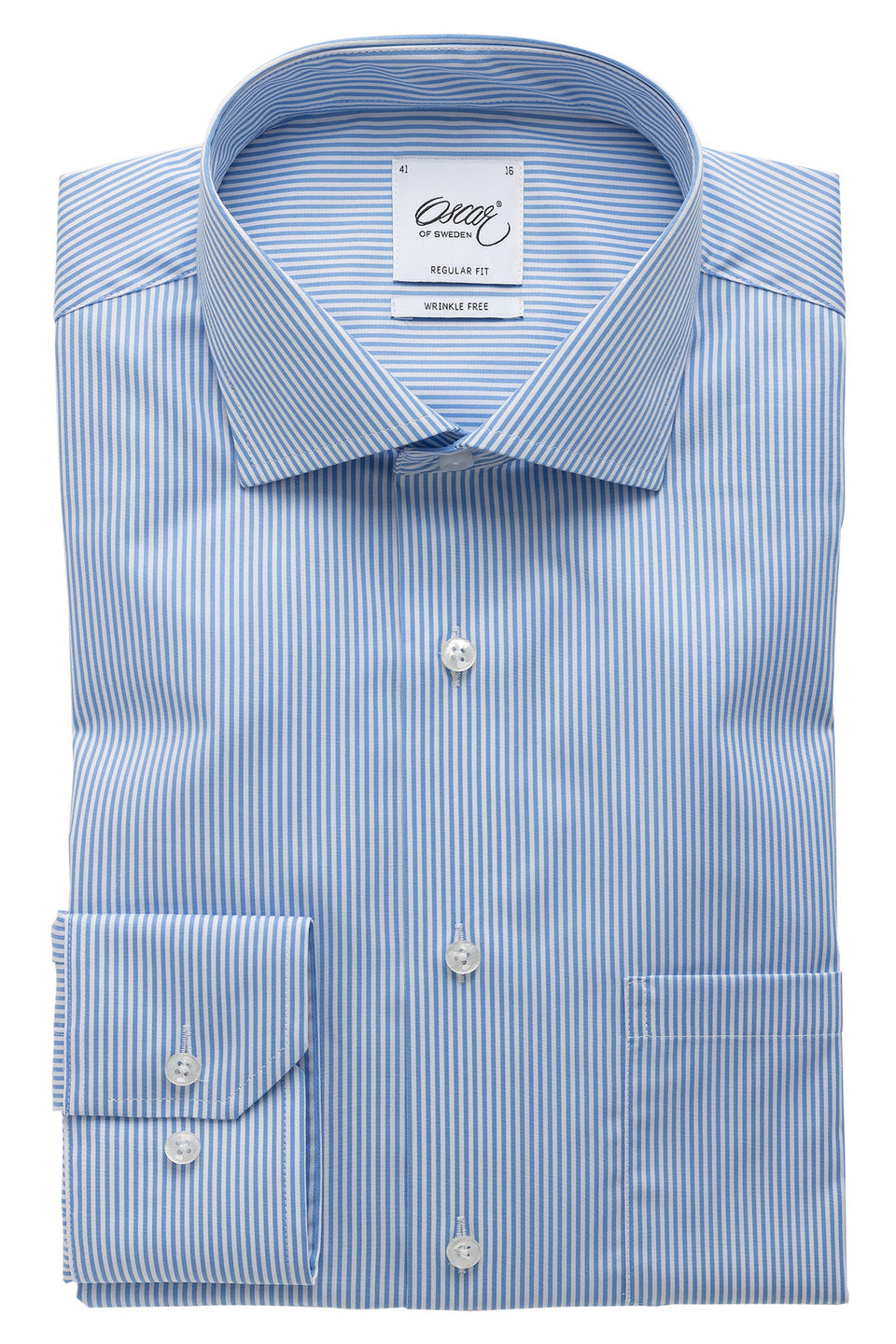 Lightblue striped regular fit shirt