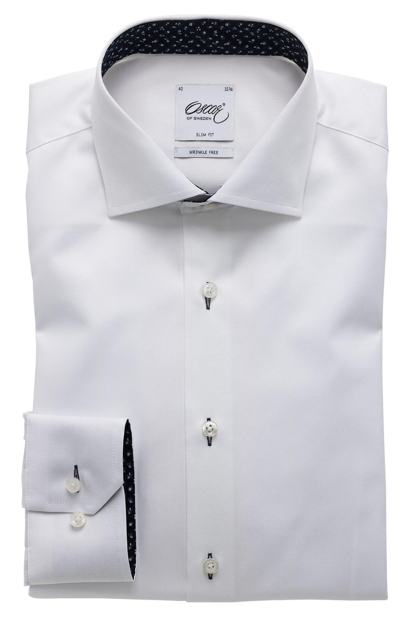 White slim fit shirt with navy details