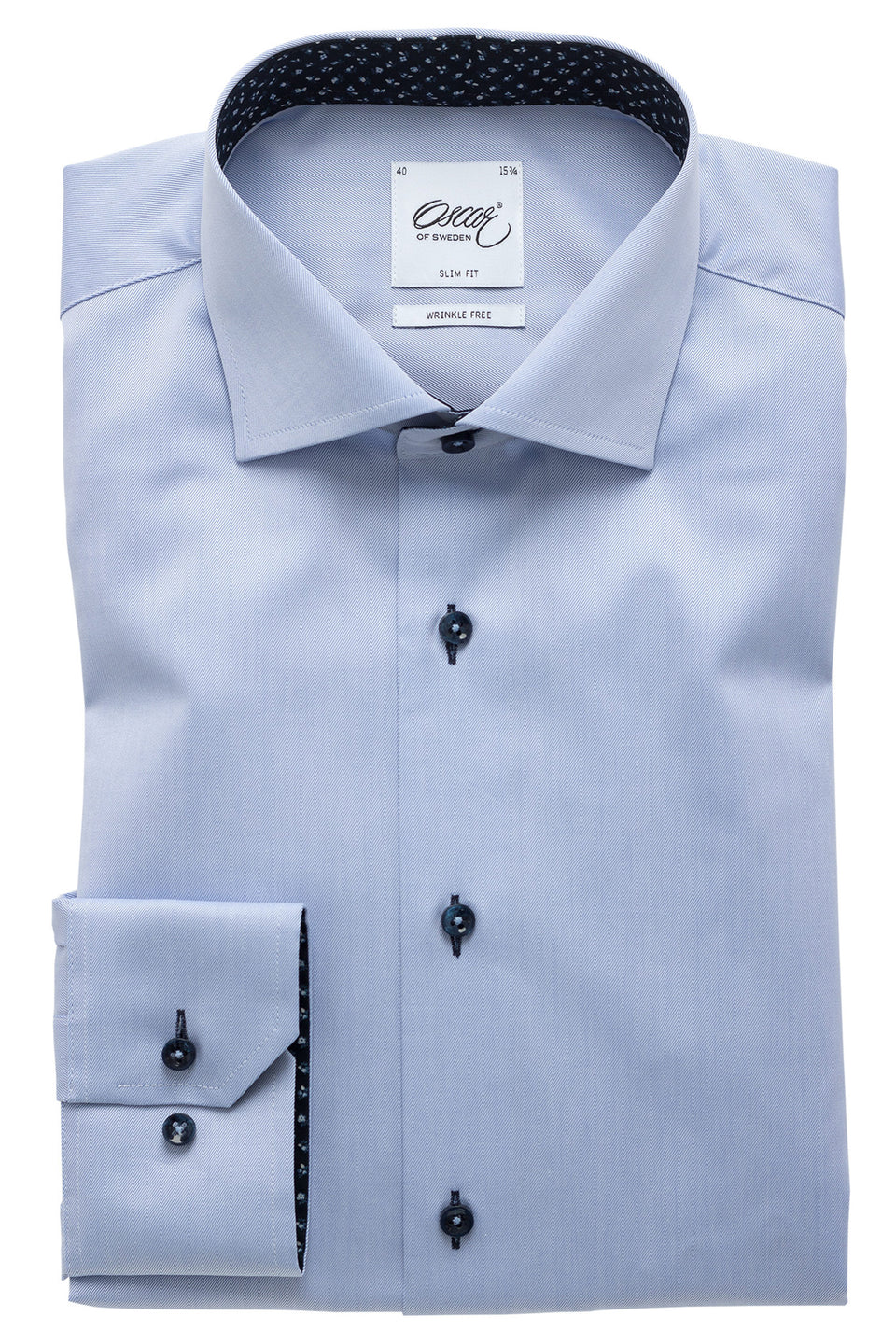 Lightblue slim shirt with navy details