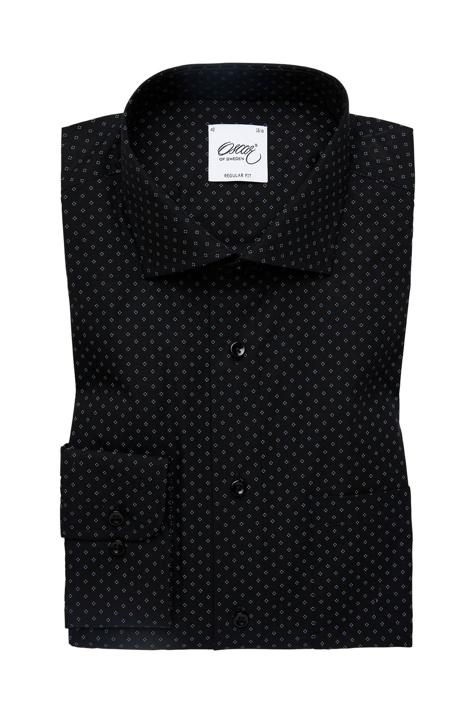 Black regular fit shirt with small flower print