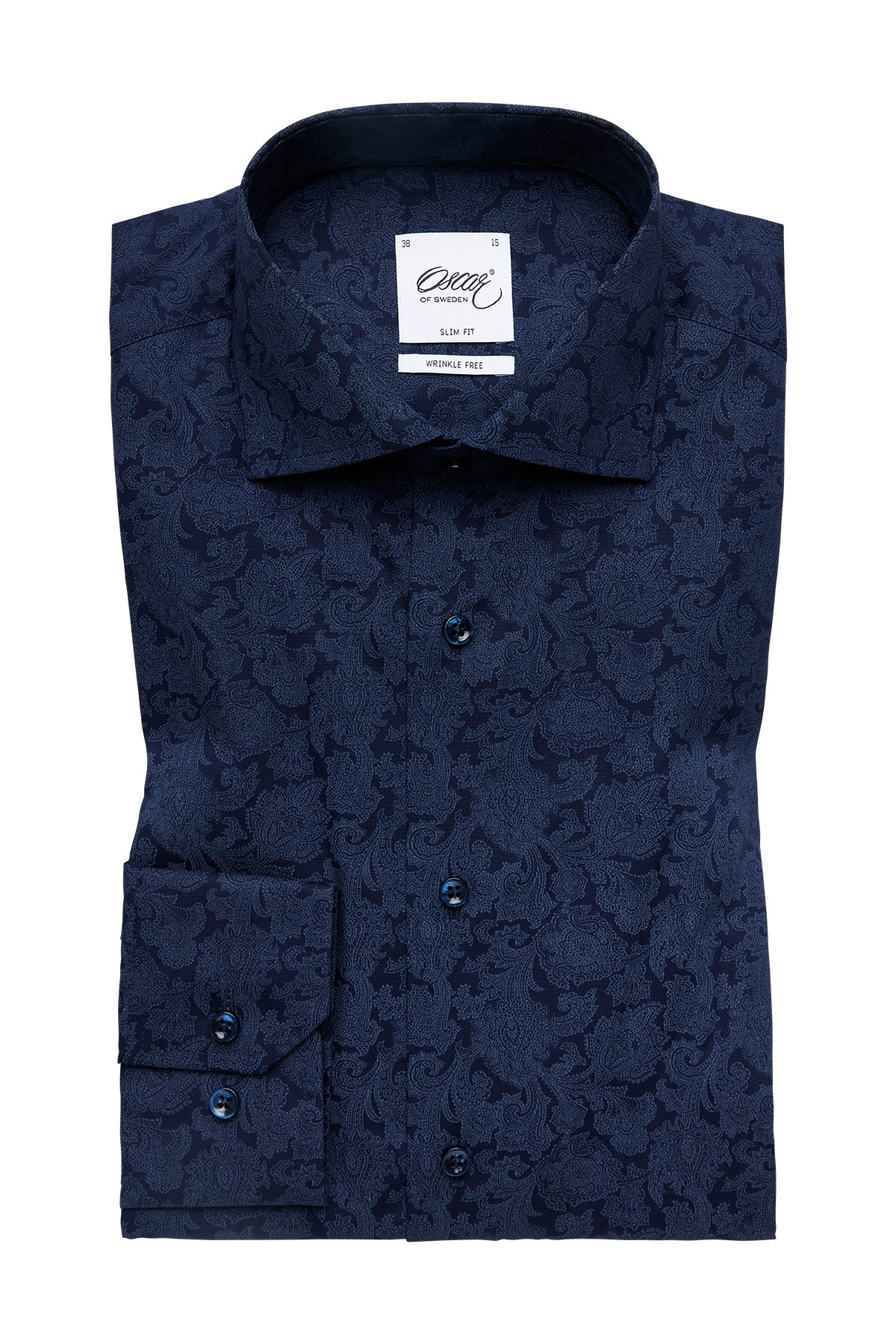 Navy slim fit shirt with paisley print