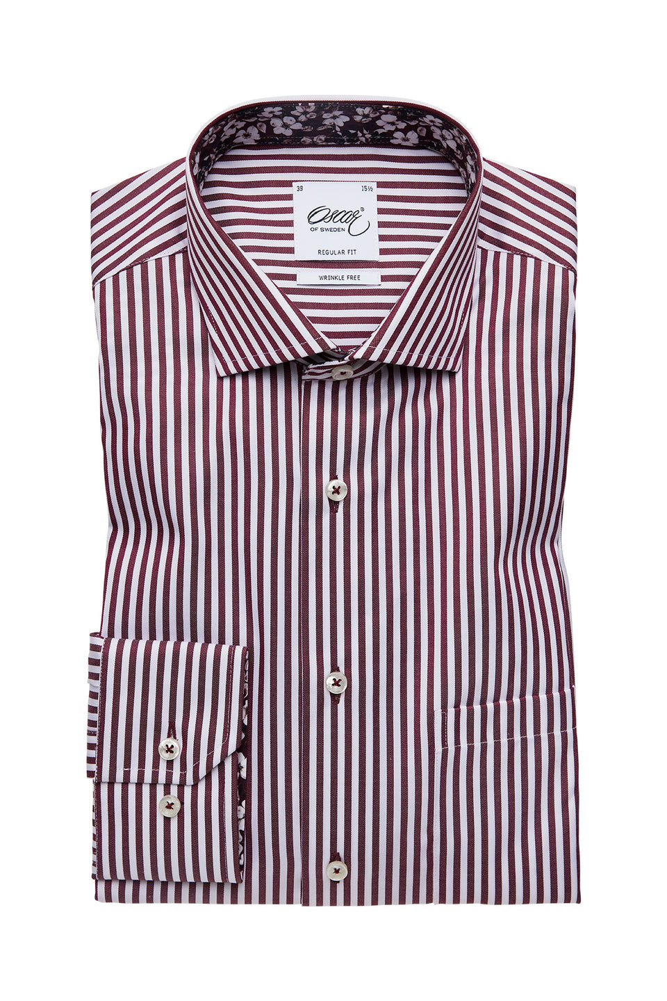 Burgundy striped regular fit shirt