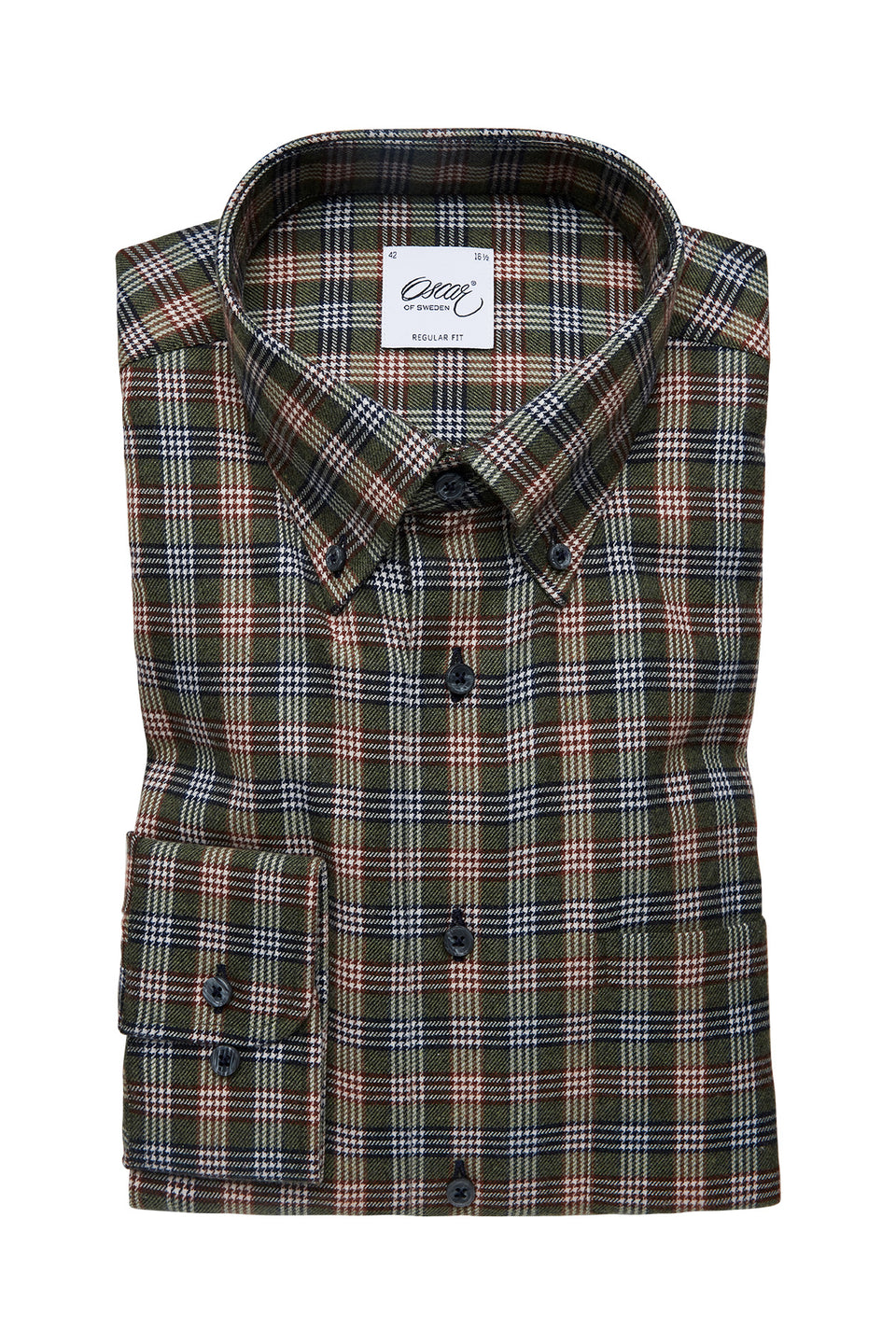 Green checked regular fit shirt