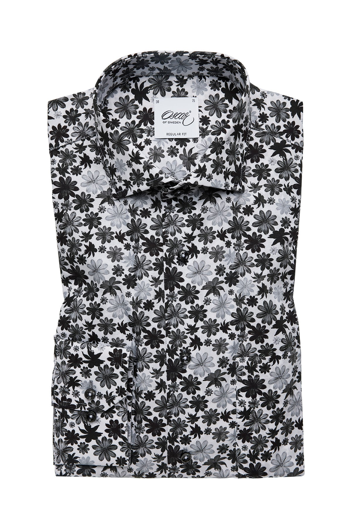 Black and white flower print regular fit shirt