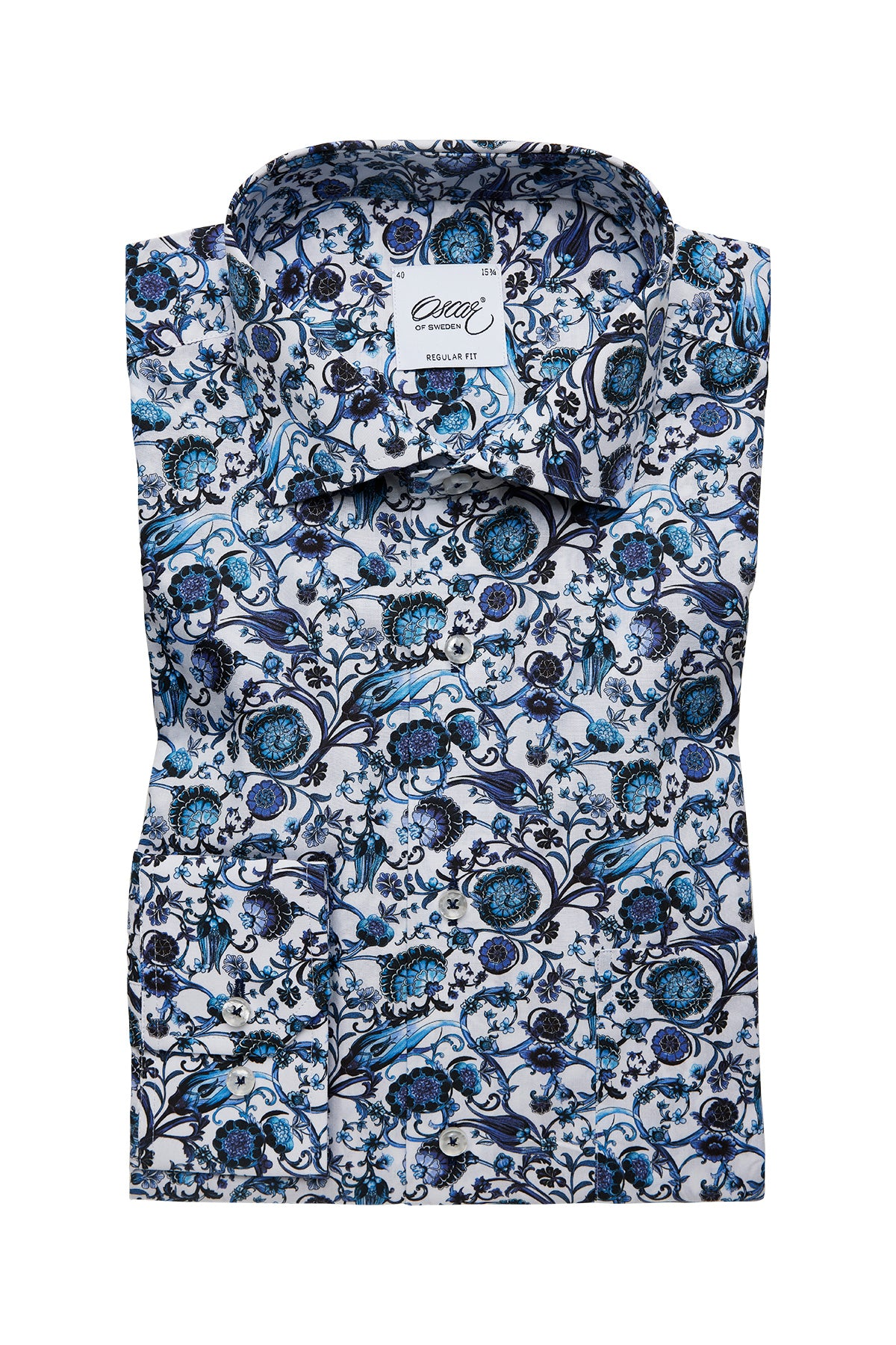 White and blue flower printed regular fit shirt