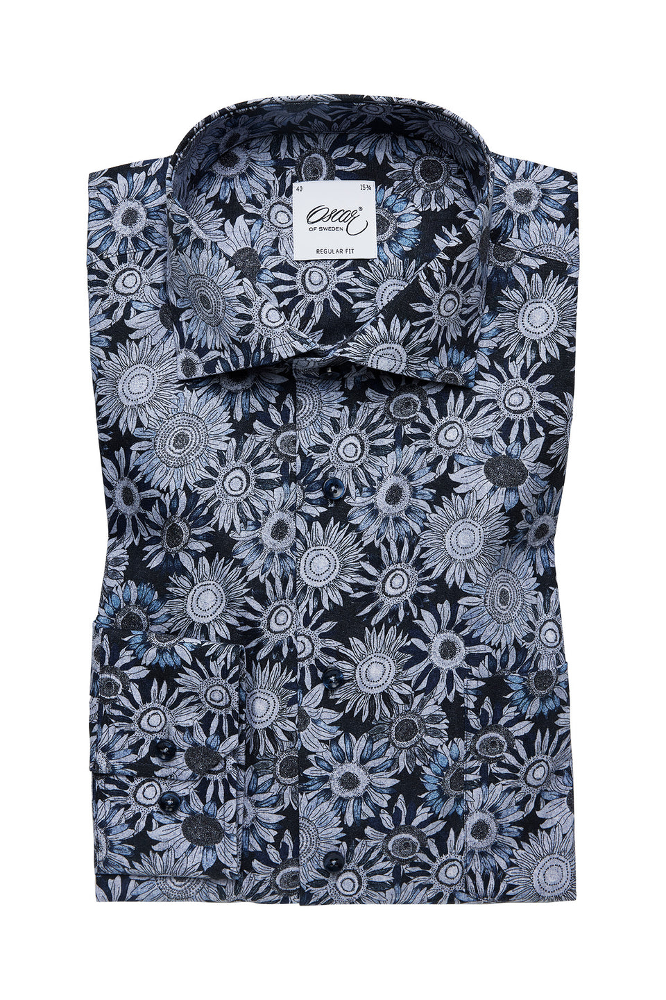 Blue flower printed regular fit shirt
