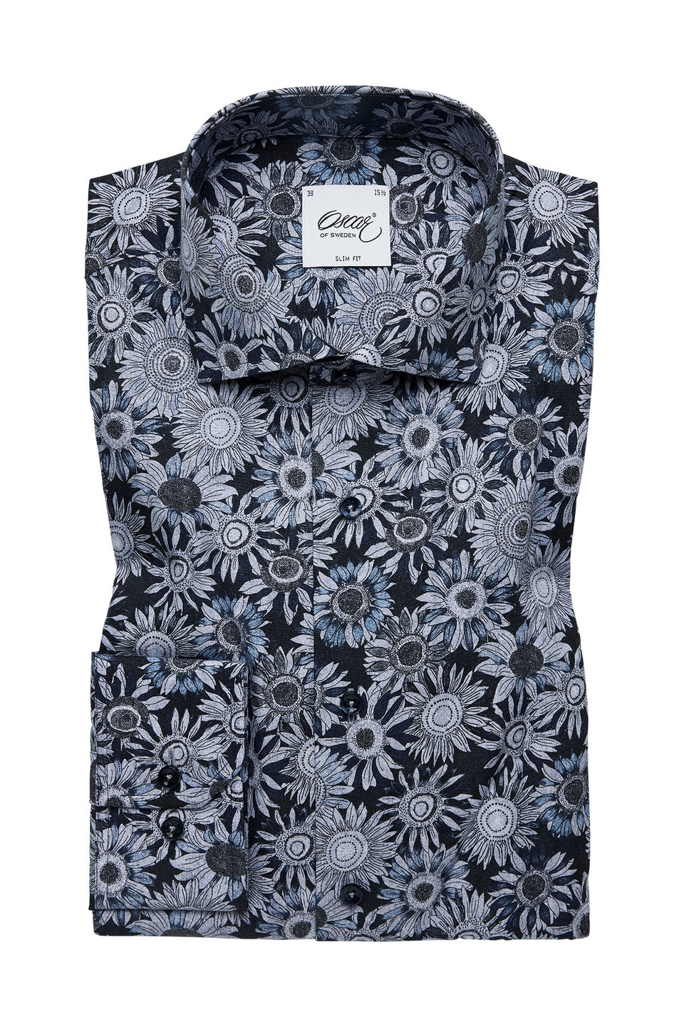 Blue flower printed slim fit shirt
