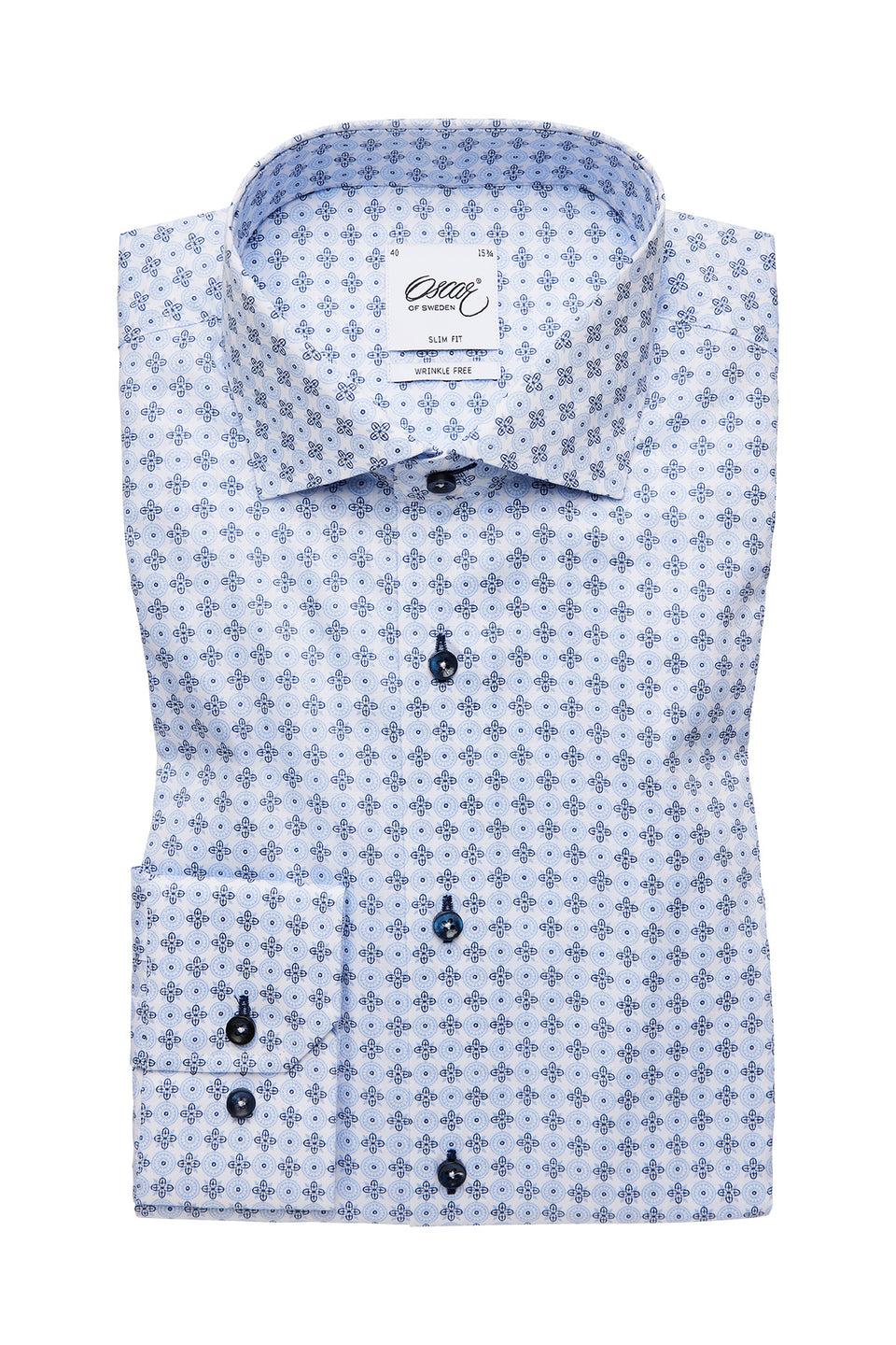 Light blue printed slim fit shirt
