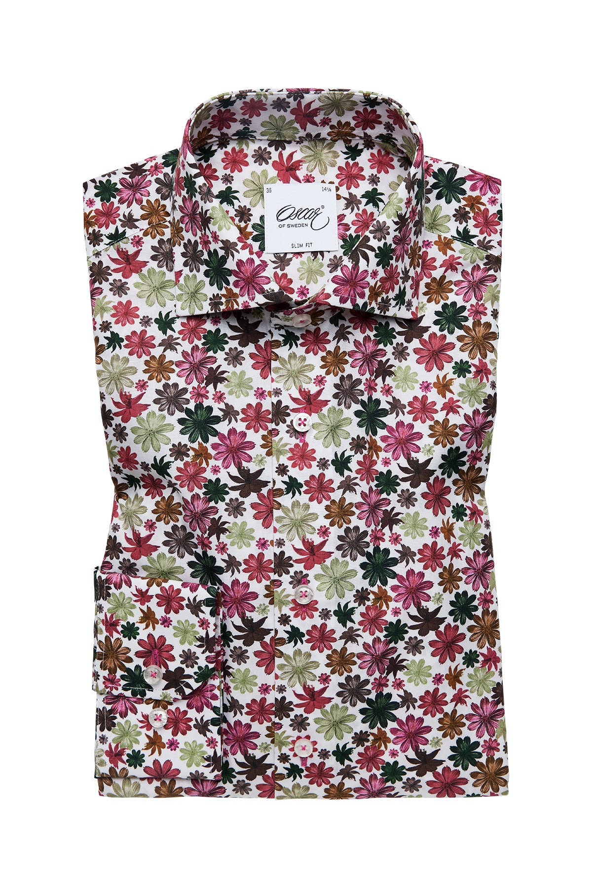 Red flower printed slim fit shirt
