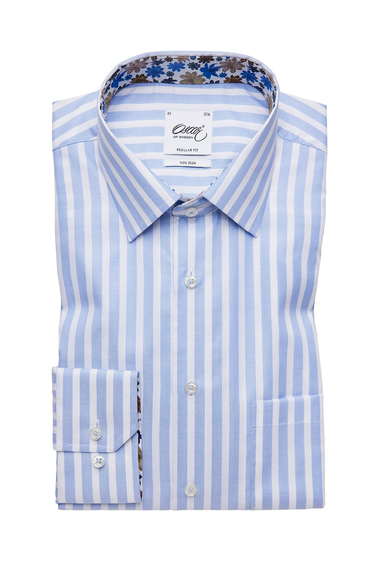 Light blue striped regular fit shirt with contrast details