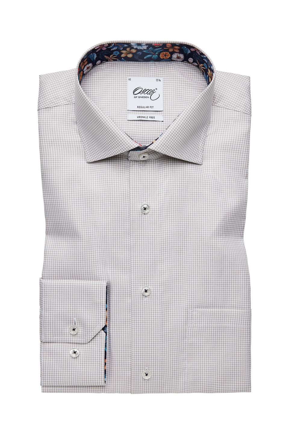 Beige checked regular fit shirt with contrast details