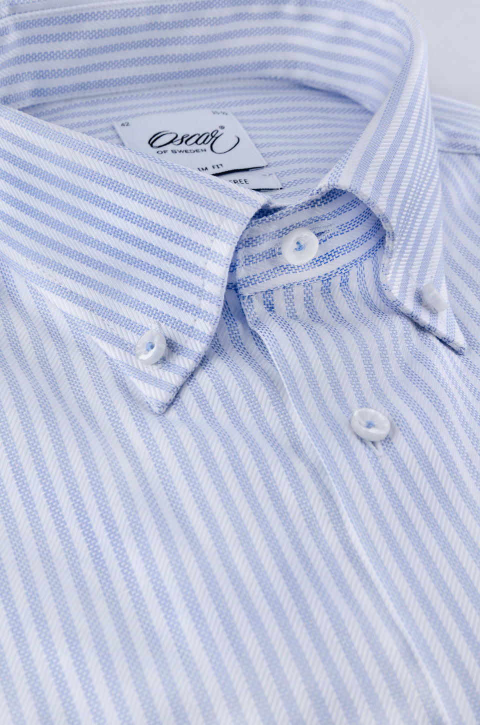 Lightblue and white striped slim fit button-down shirt