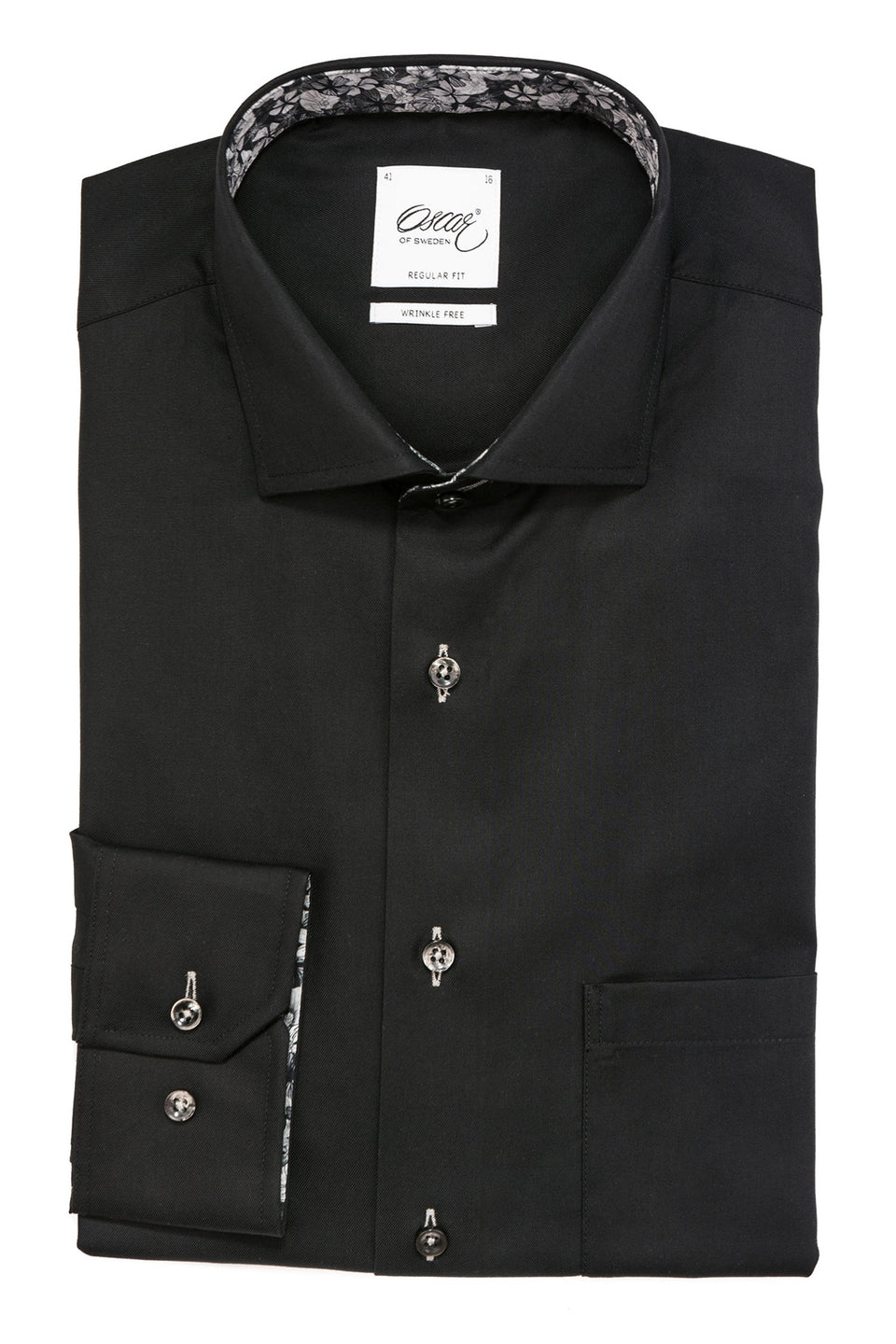 Black regular fit shirt with contrast details