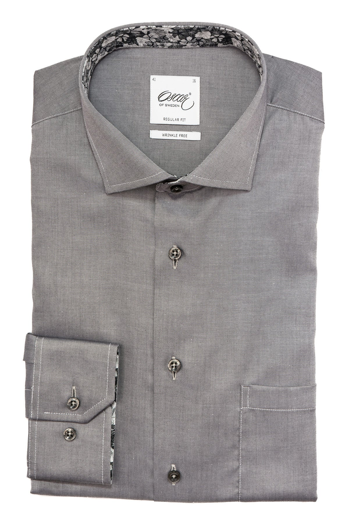Grey regular fit shirt with contrast details