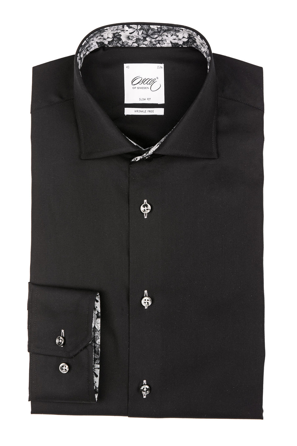 Black slim fit shirt with contrast details