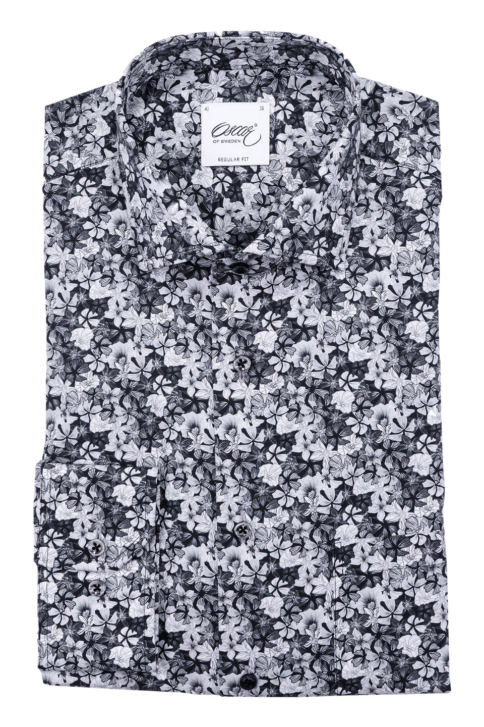 Black flower printed regular fit shirt