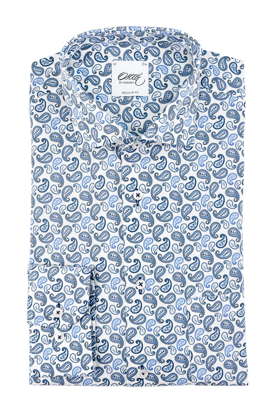 Blue paisley printed regular fit shirt