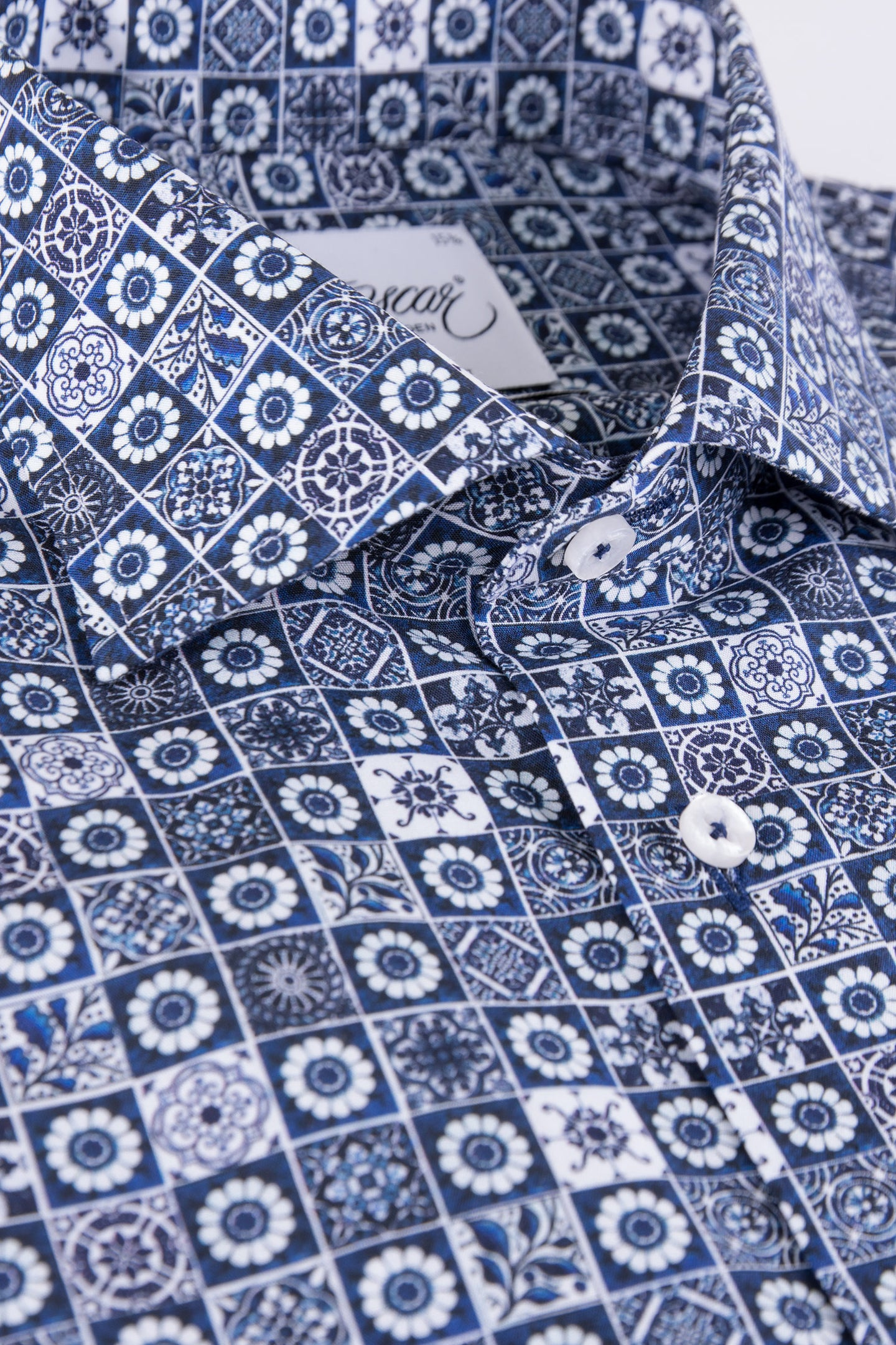 Blue printed regular fit shirt