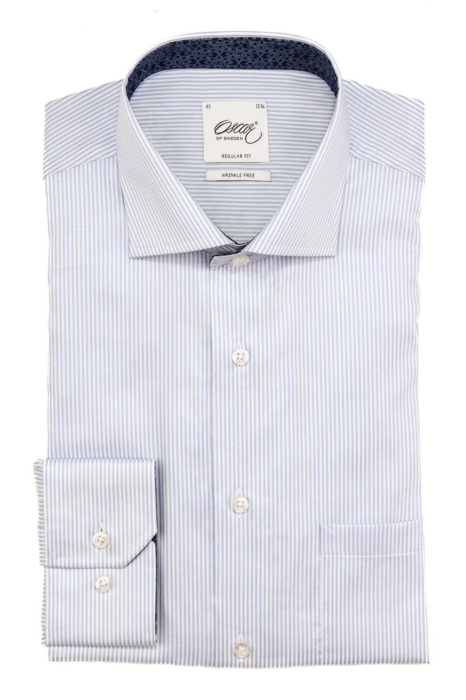 Light blue striped regular fit shirt