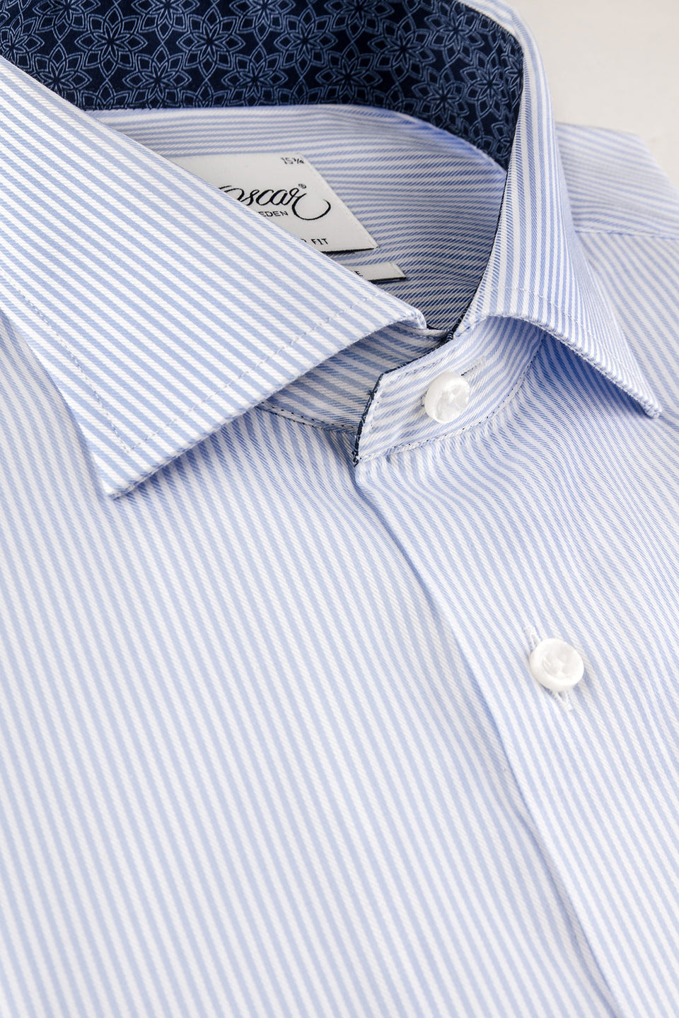 Lt blue striped regular fit shirt