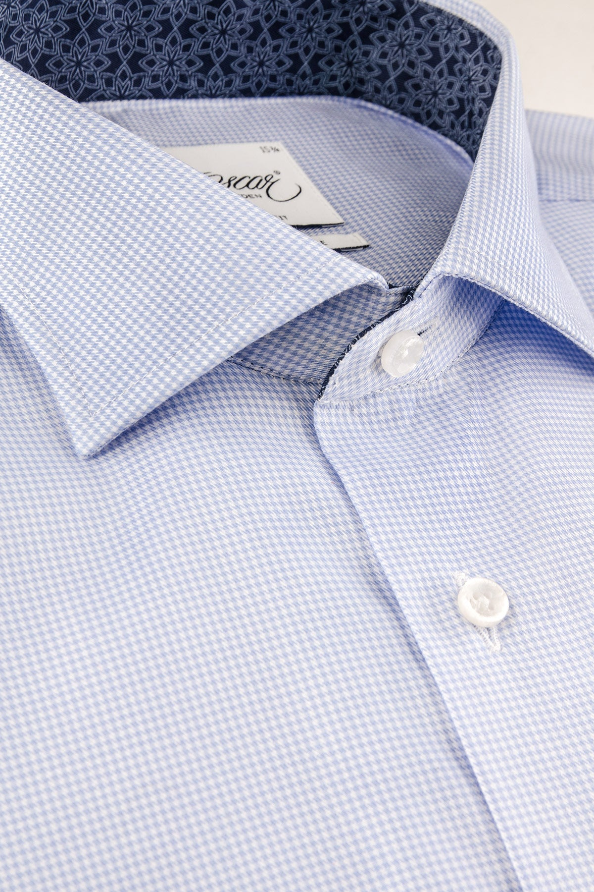 Light blue checked slim fit shirt