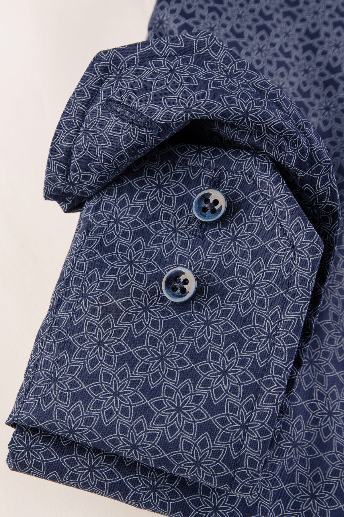 Navy flower printed regular fit shirt