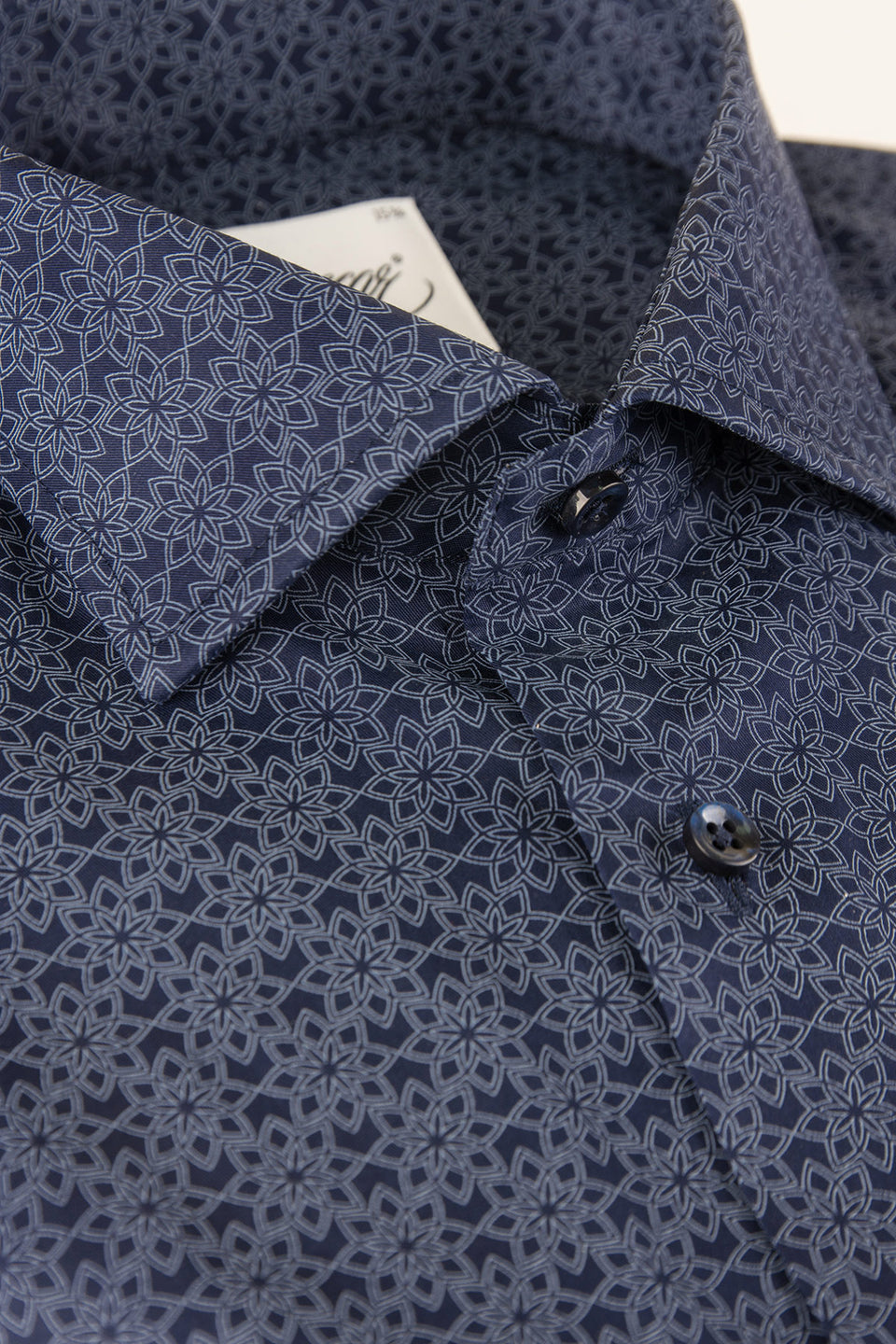 Navy flower printed slim fit shirt