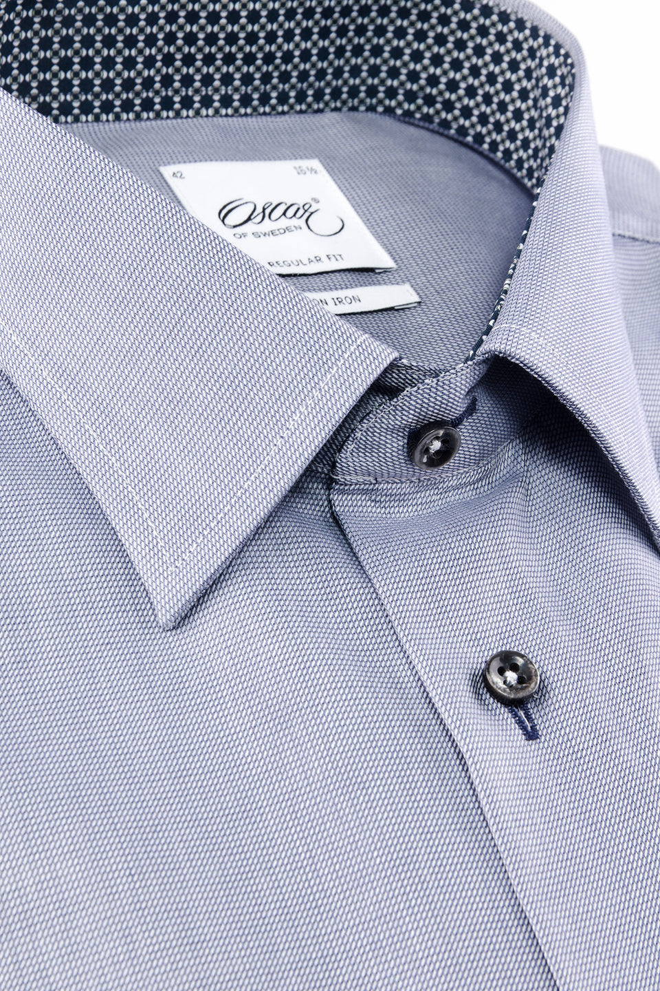 Blue regular fit shirt with navy contrast details