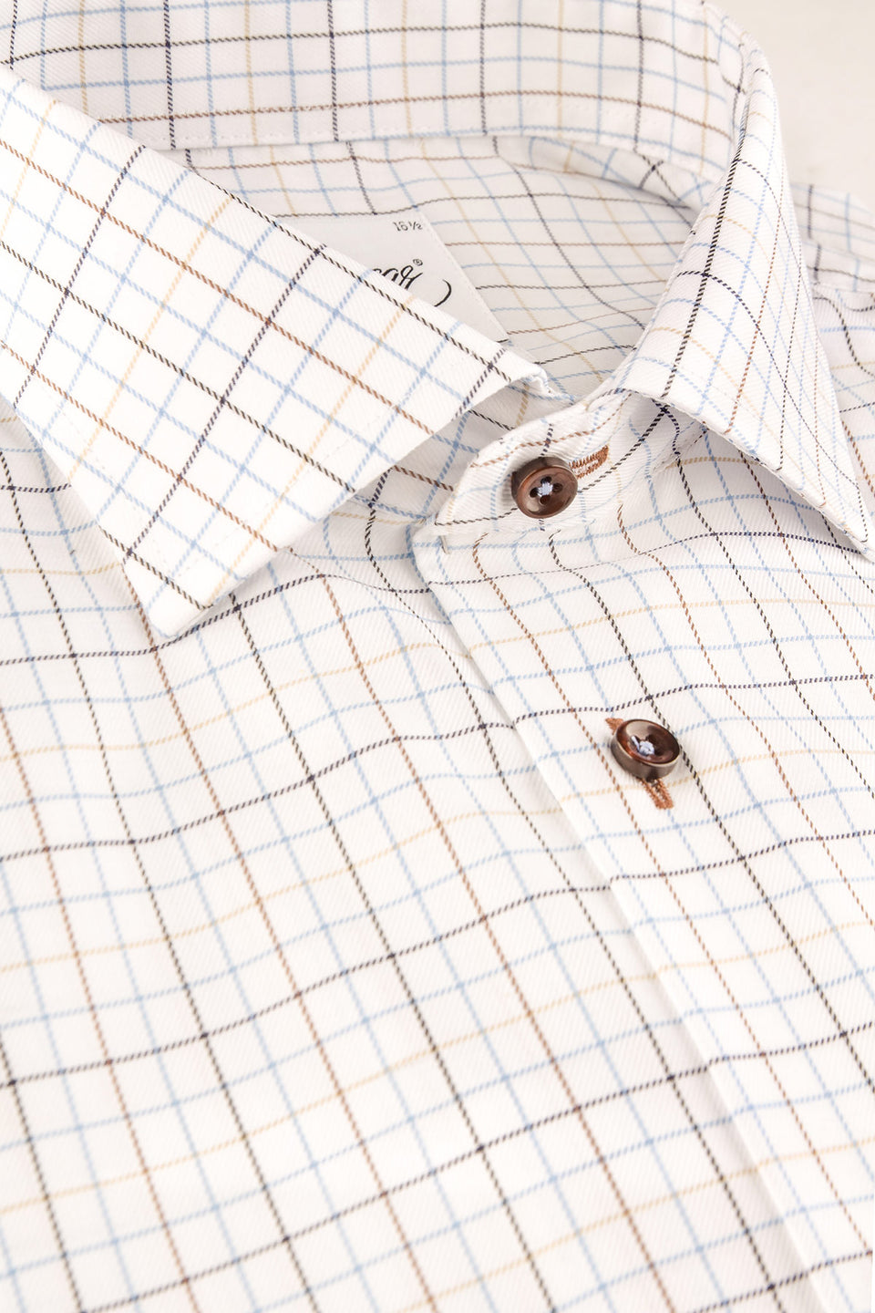 Blue and brown checked regular fit shirt