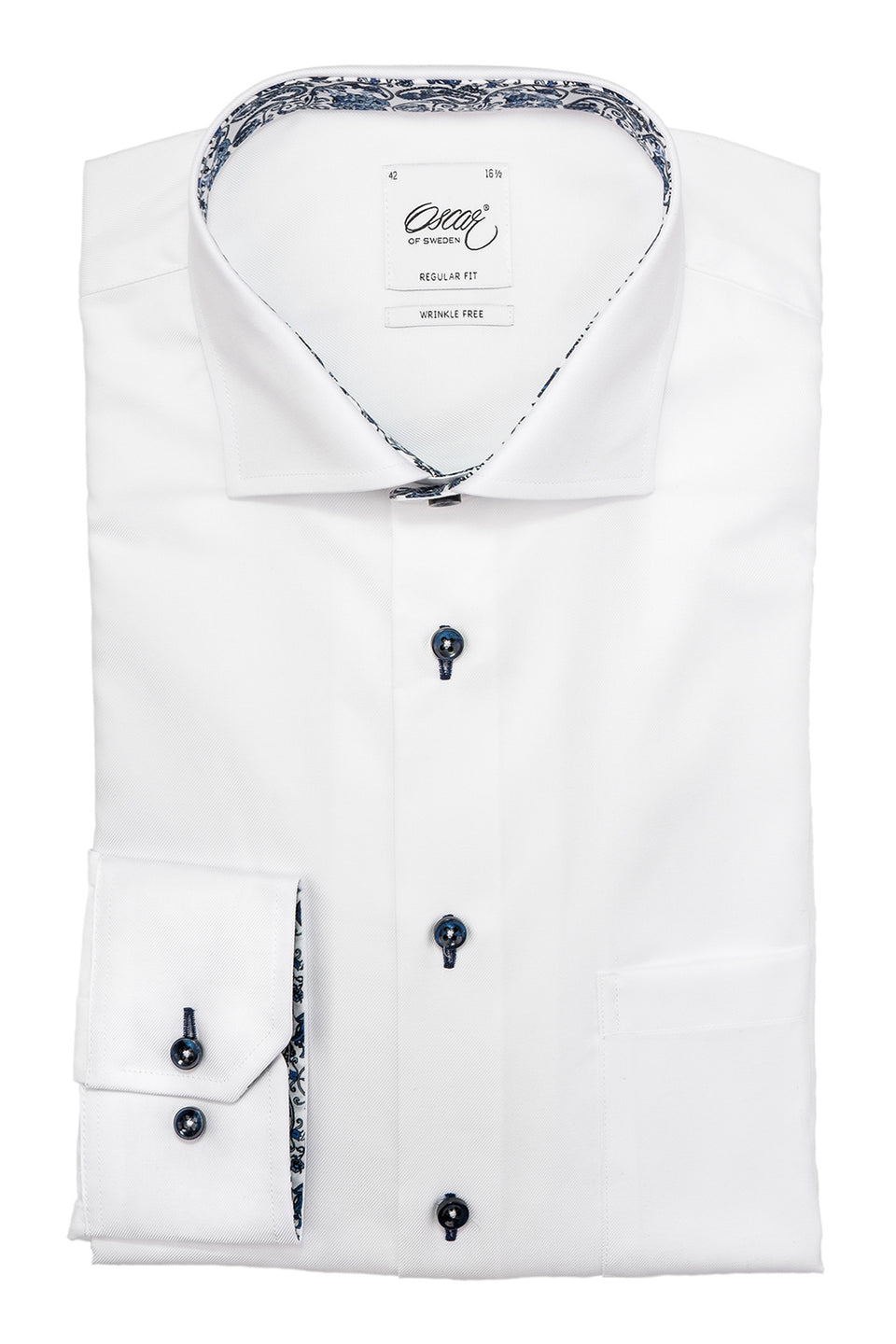 White regular fit shirt with blue paisley details