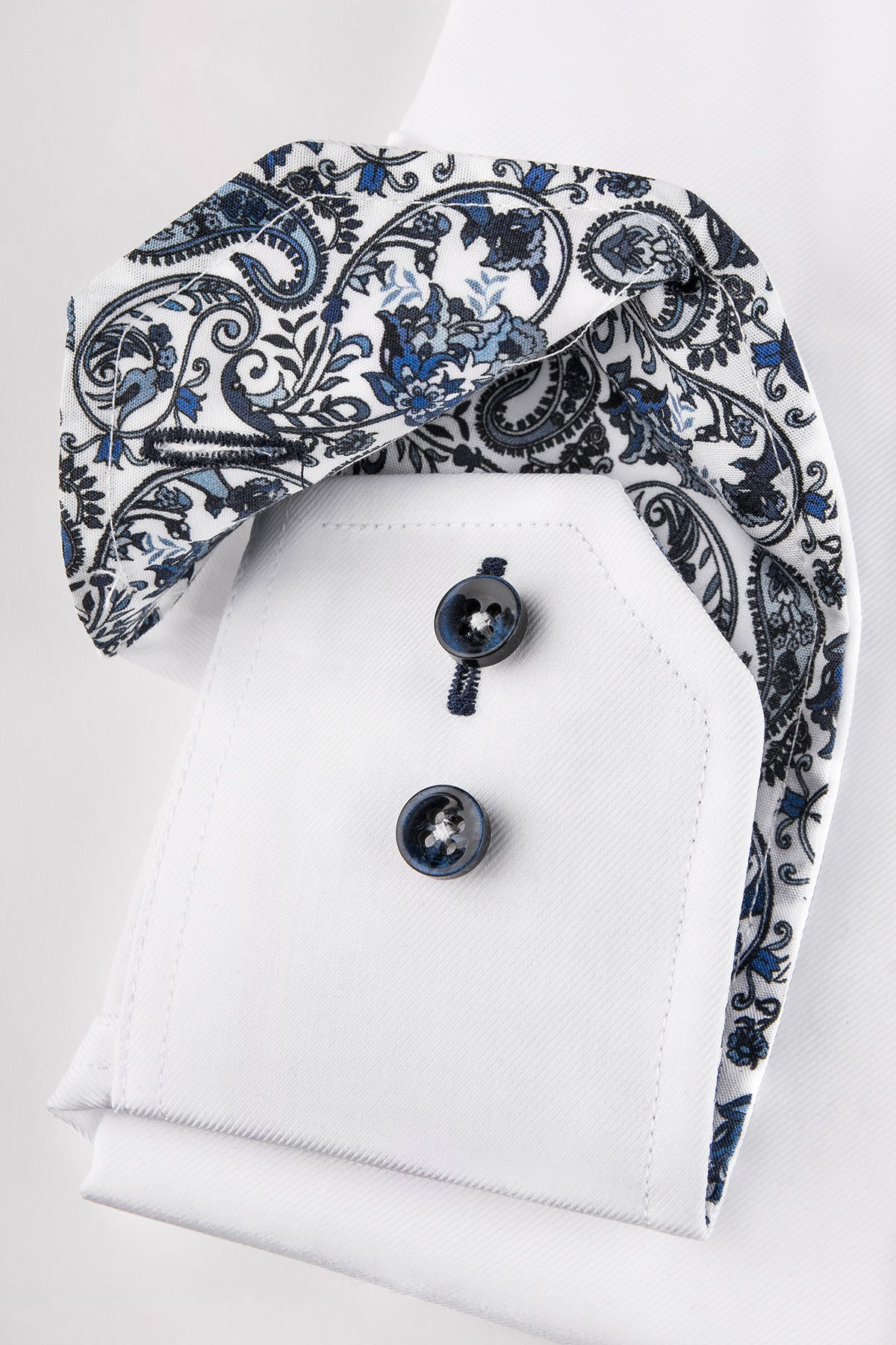 White slim fit shirt with blue paisley details