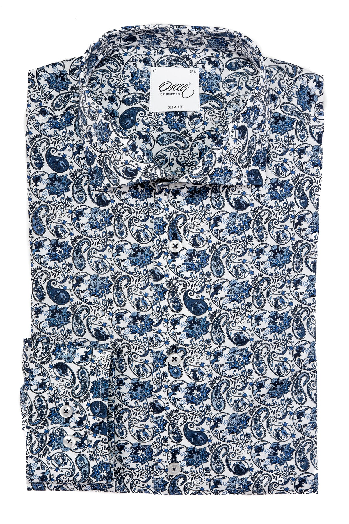 Blue paisley printed slim fit shirt