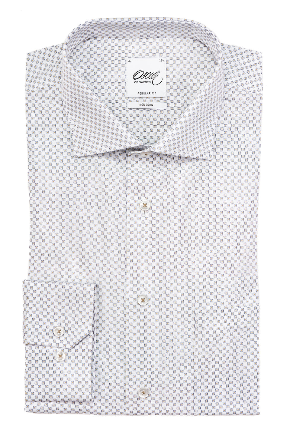 White micro printed regular fit shirt