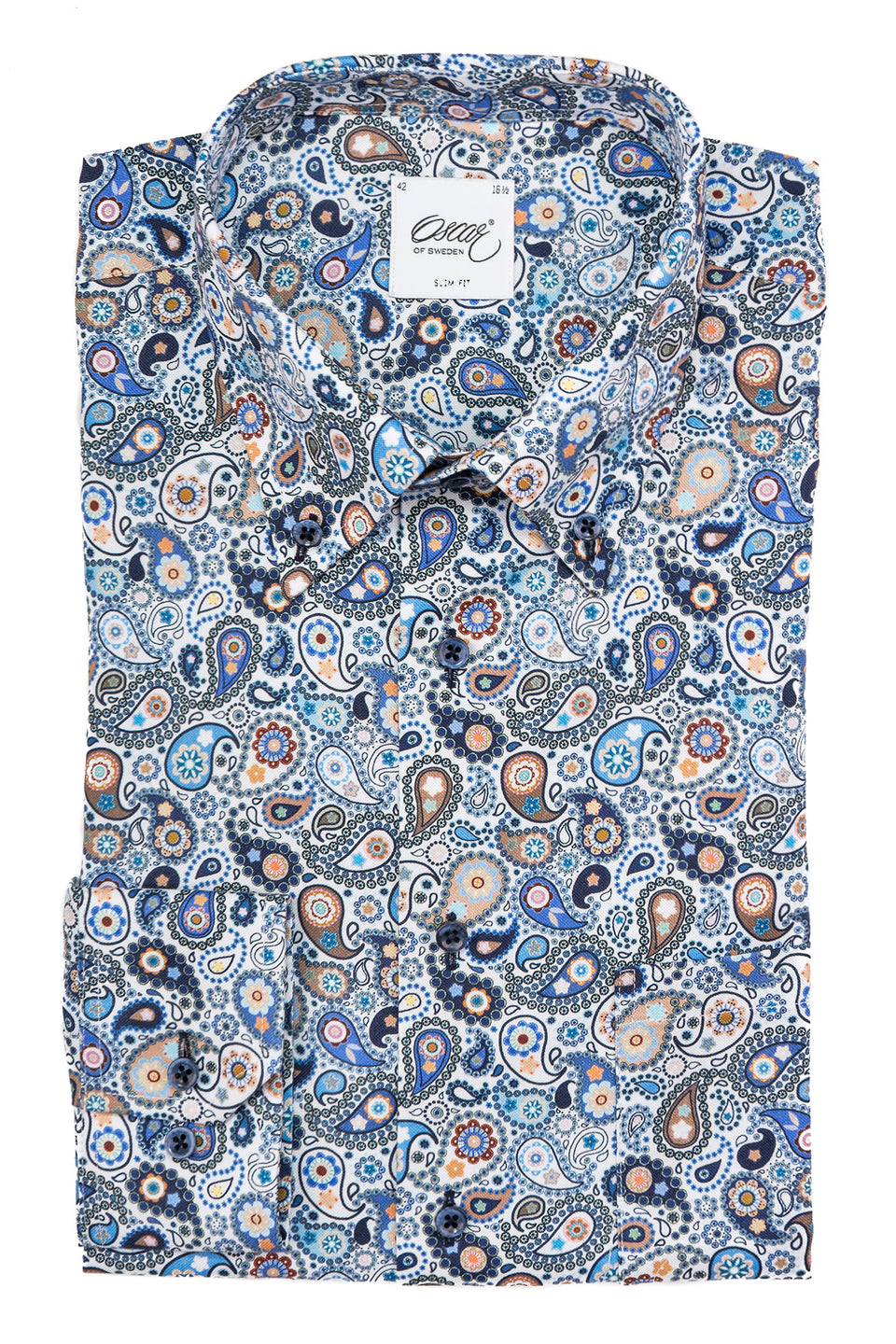 Blue paisley slim fit button down shirt