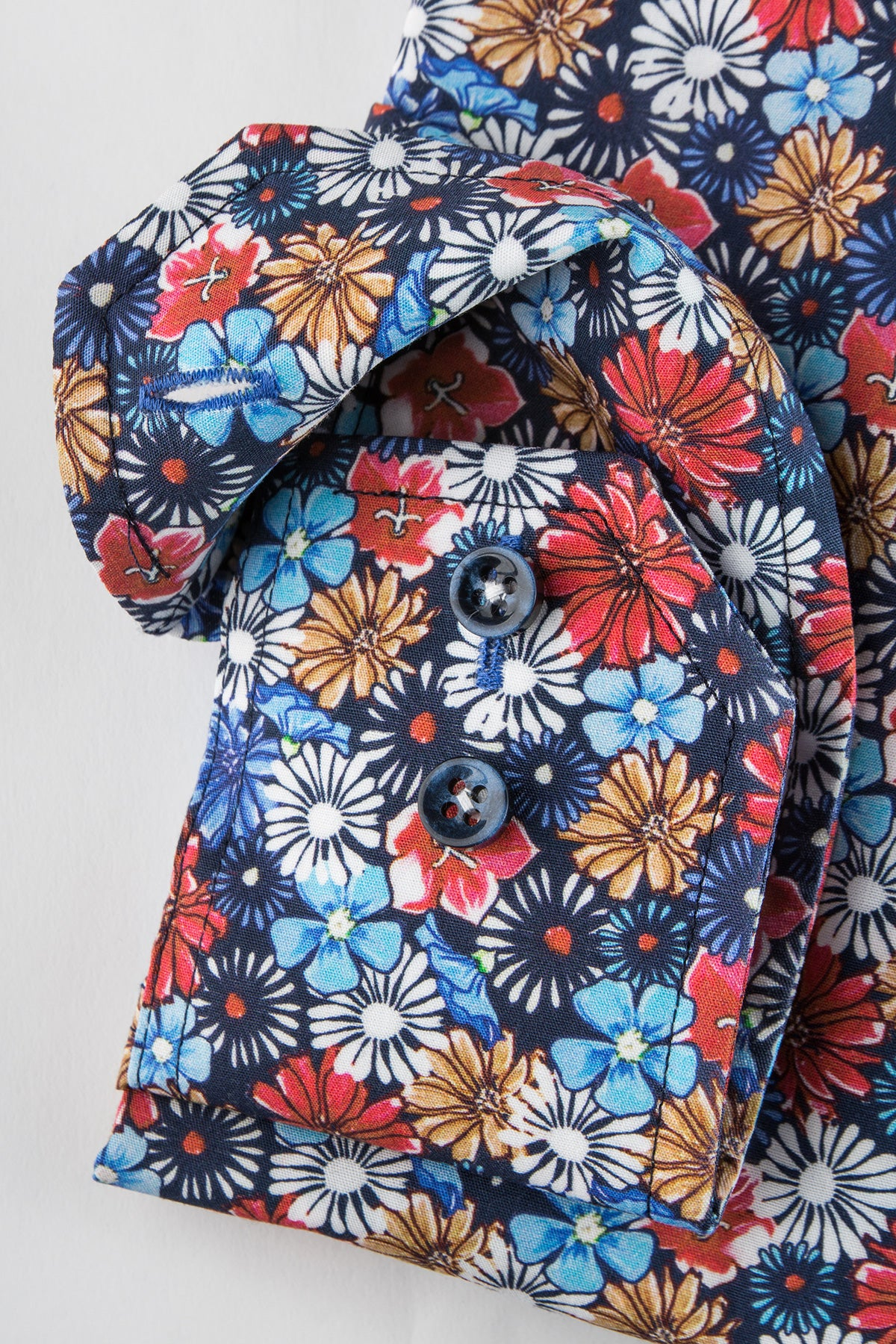 Multi color flower printed regular fit shirt