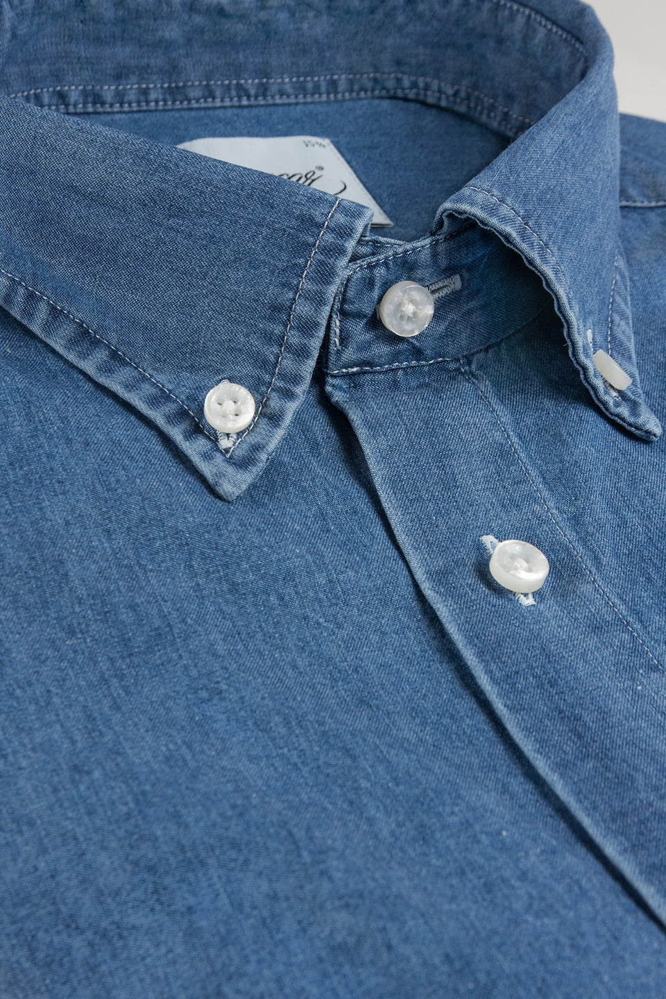 Denim slim fit button down shirt