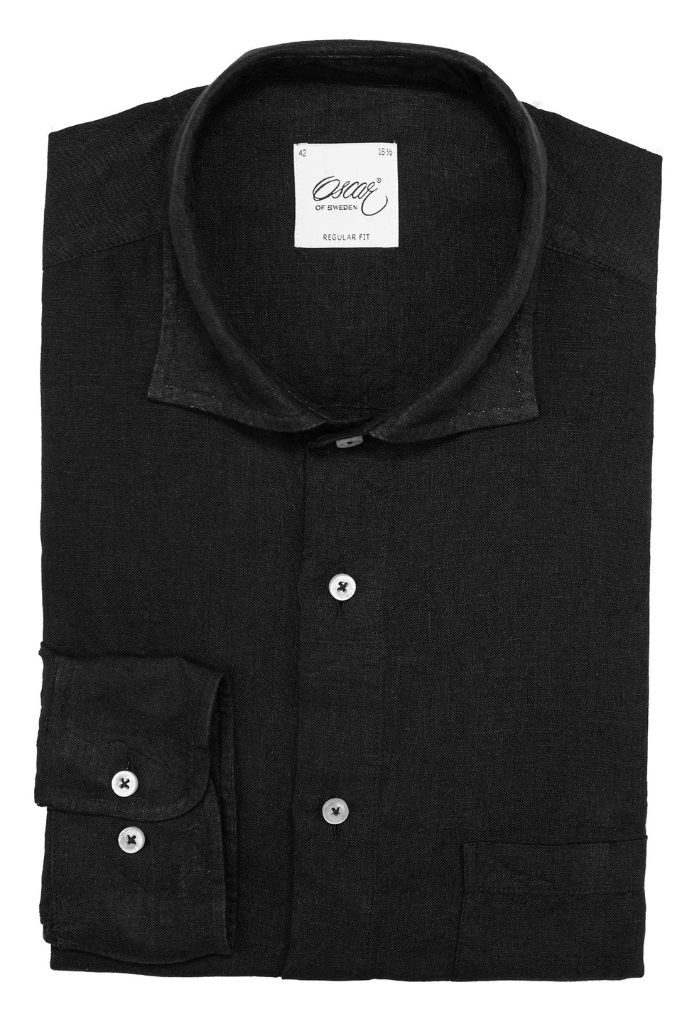 Black regular fit linen shirt