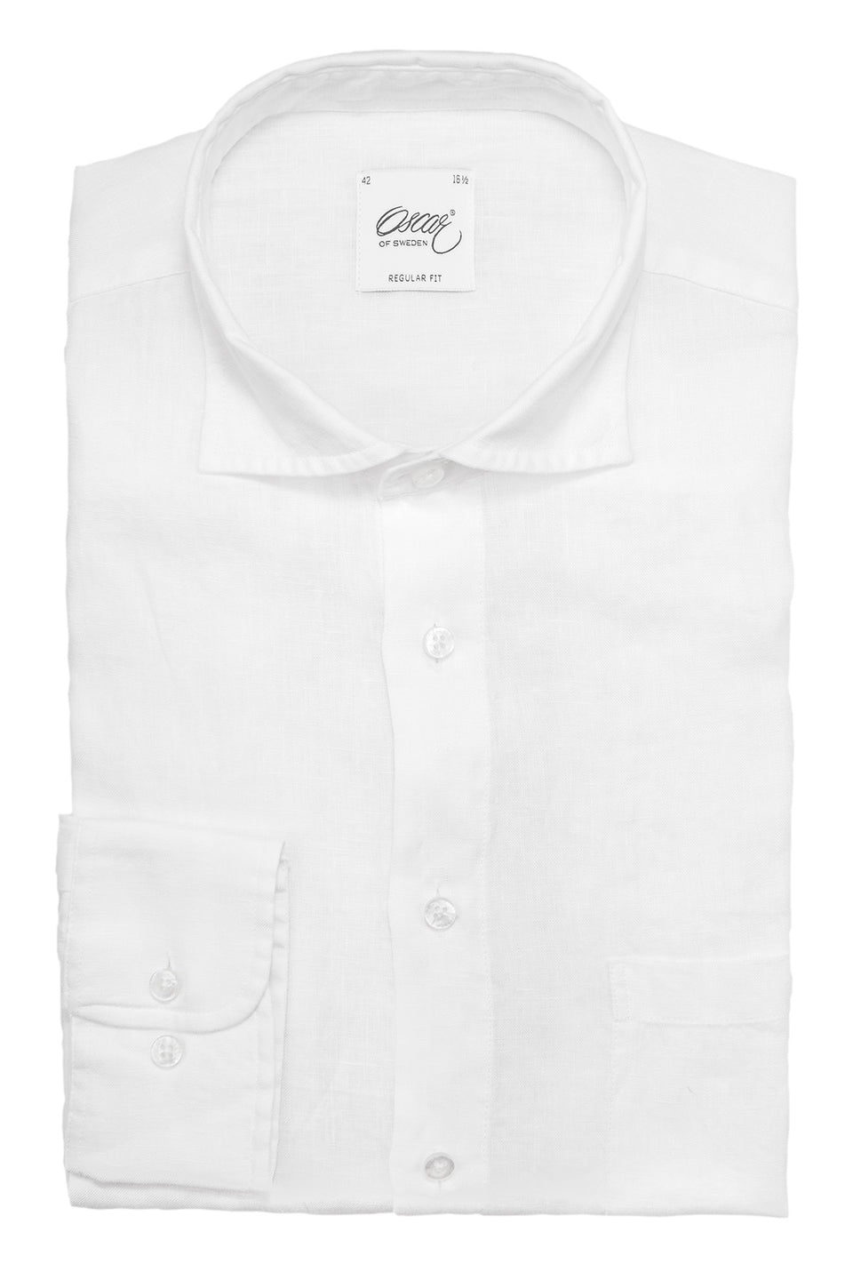 White regular fit linen shirt