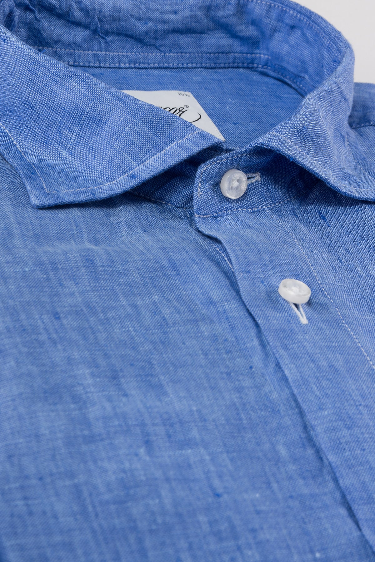 Blue regular fit linen shirt