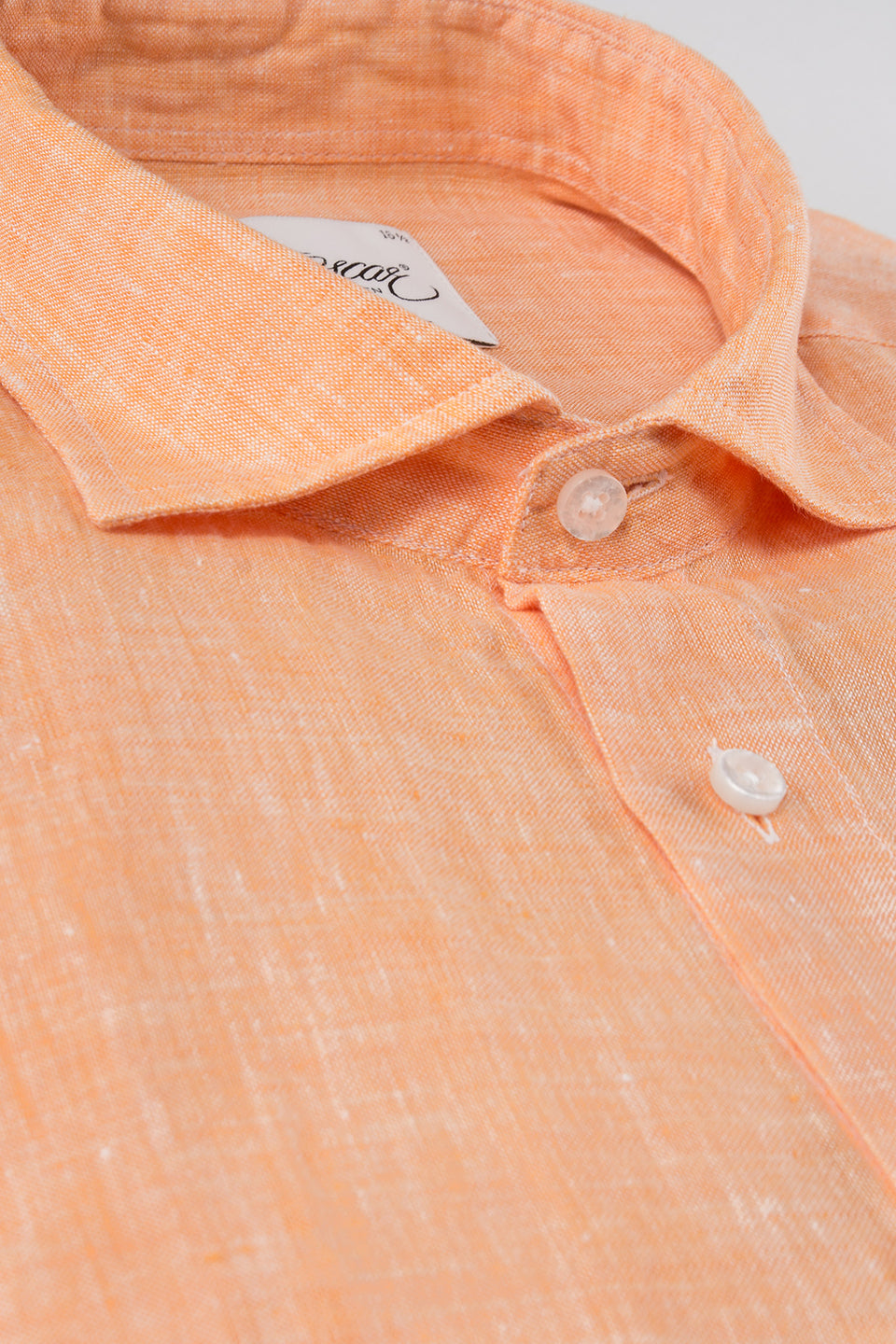 Orange regular fit linen shirt