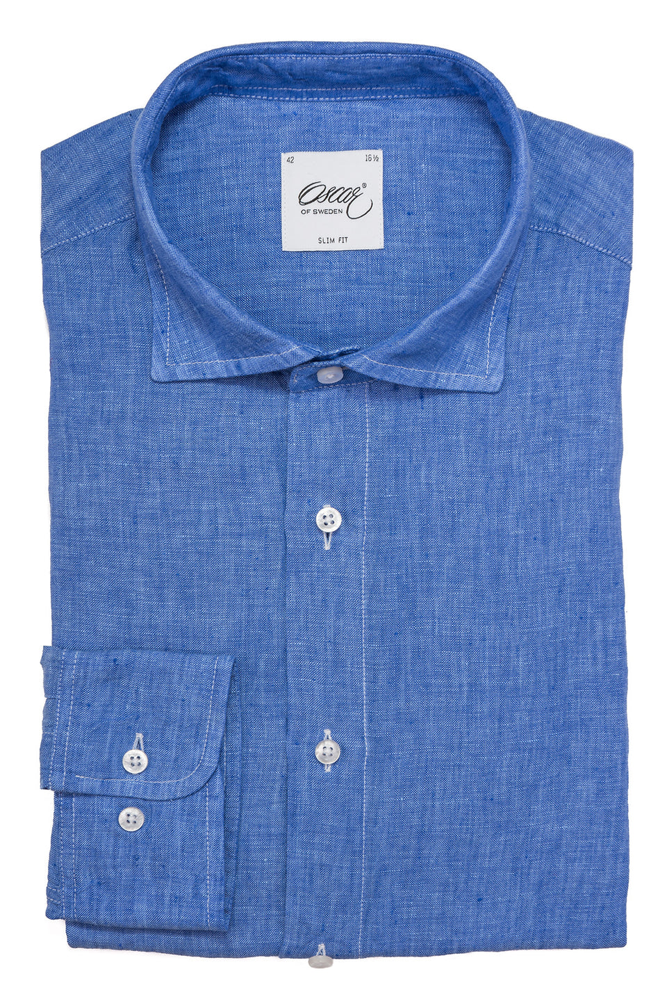 Blue slim fit linen shirt