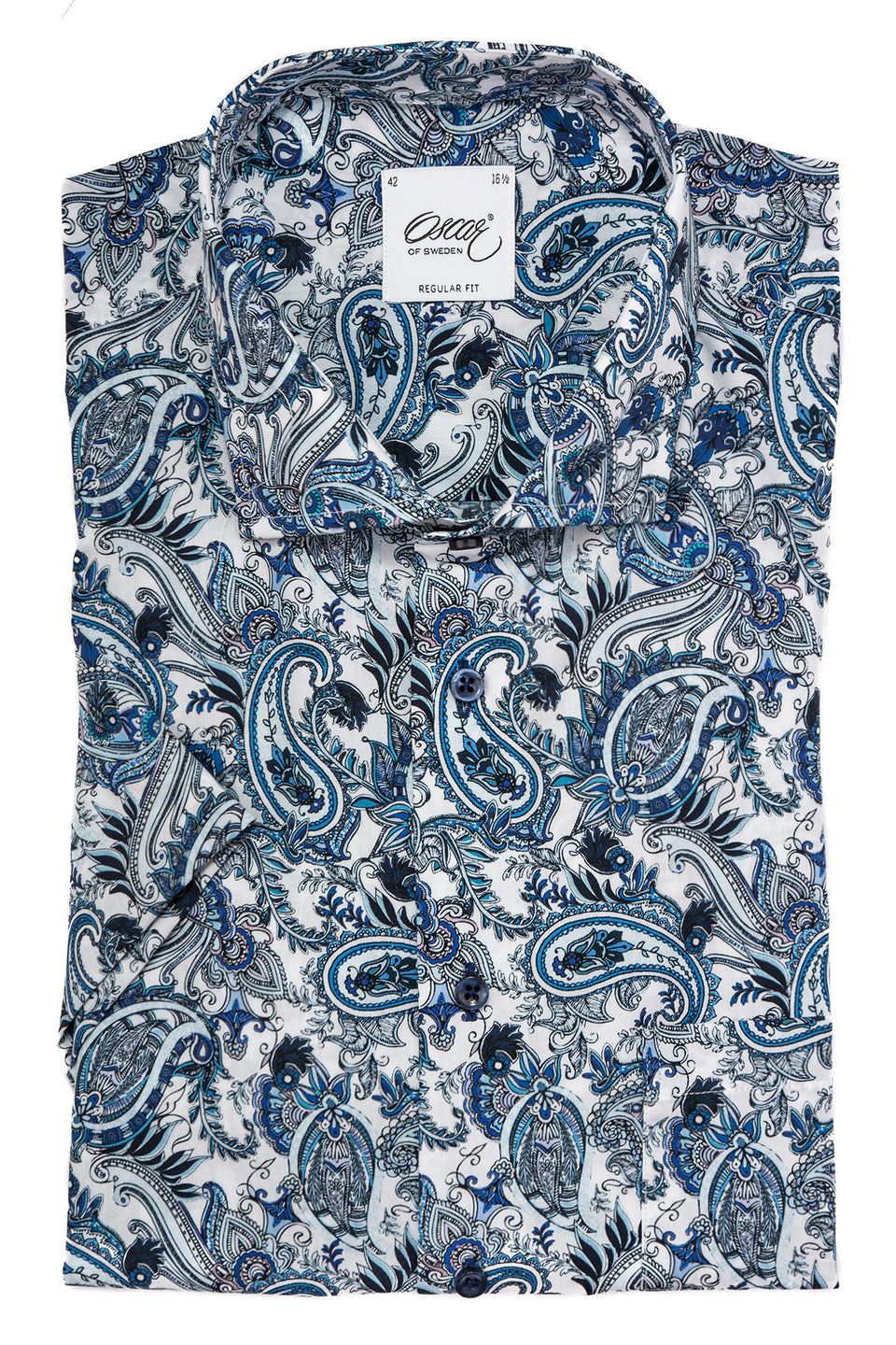 Blue paisley short sleeve regular fit shirt