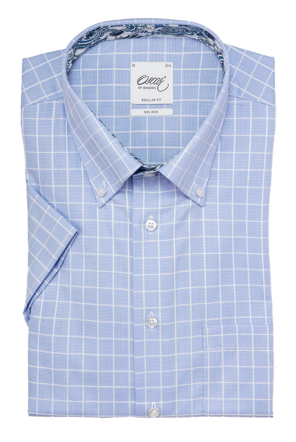 Blue checked short sleeve regular fit shirt